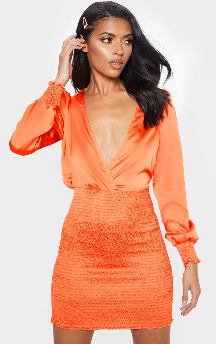 Orange Shirring Bodycon Dress 4