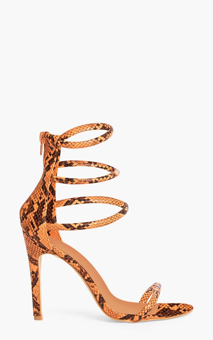 Orange Snake Print Strappy Heeled Sandals 3