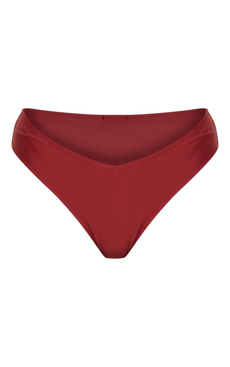Burgundy V Front Bikini Bottoms 3