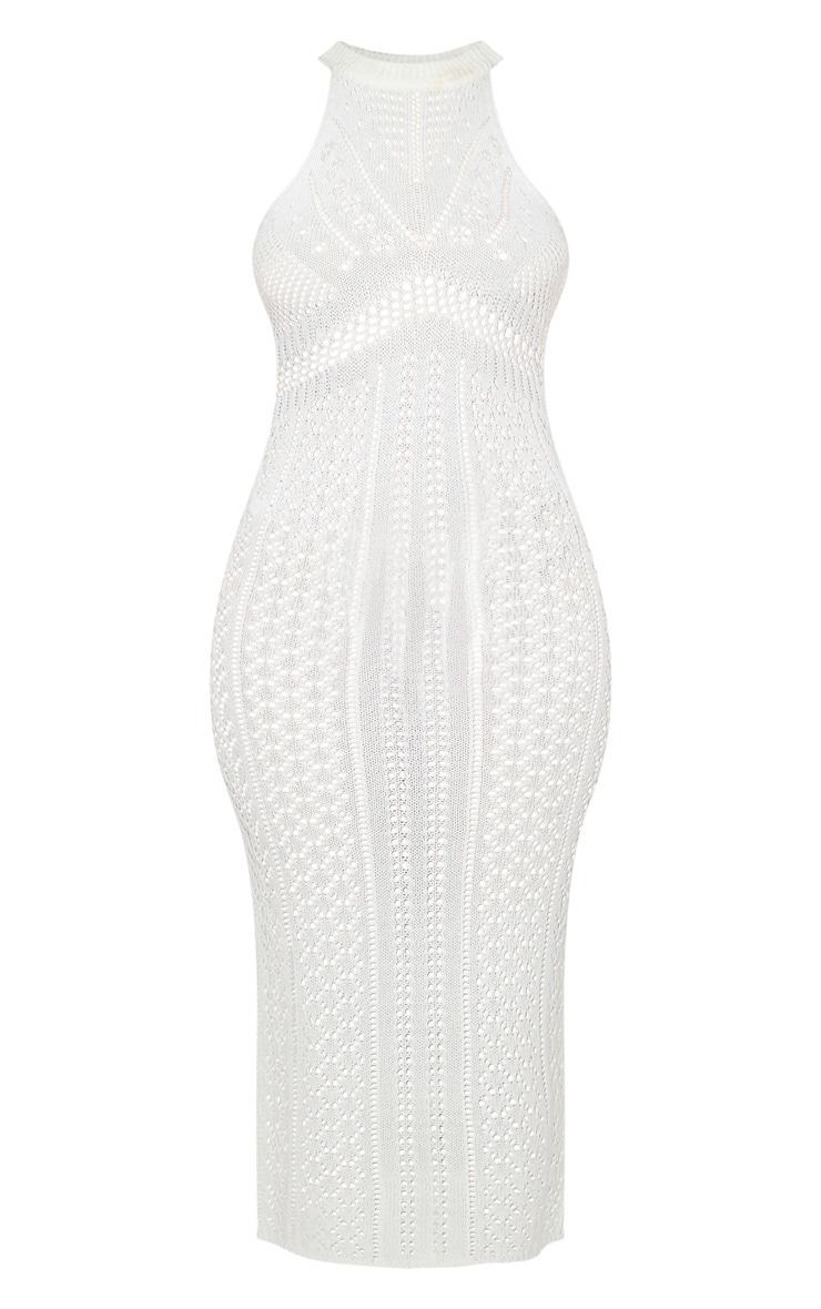 Cream Cut Out Detail Crochet Knit Midi Dress 5