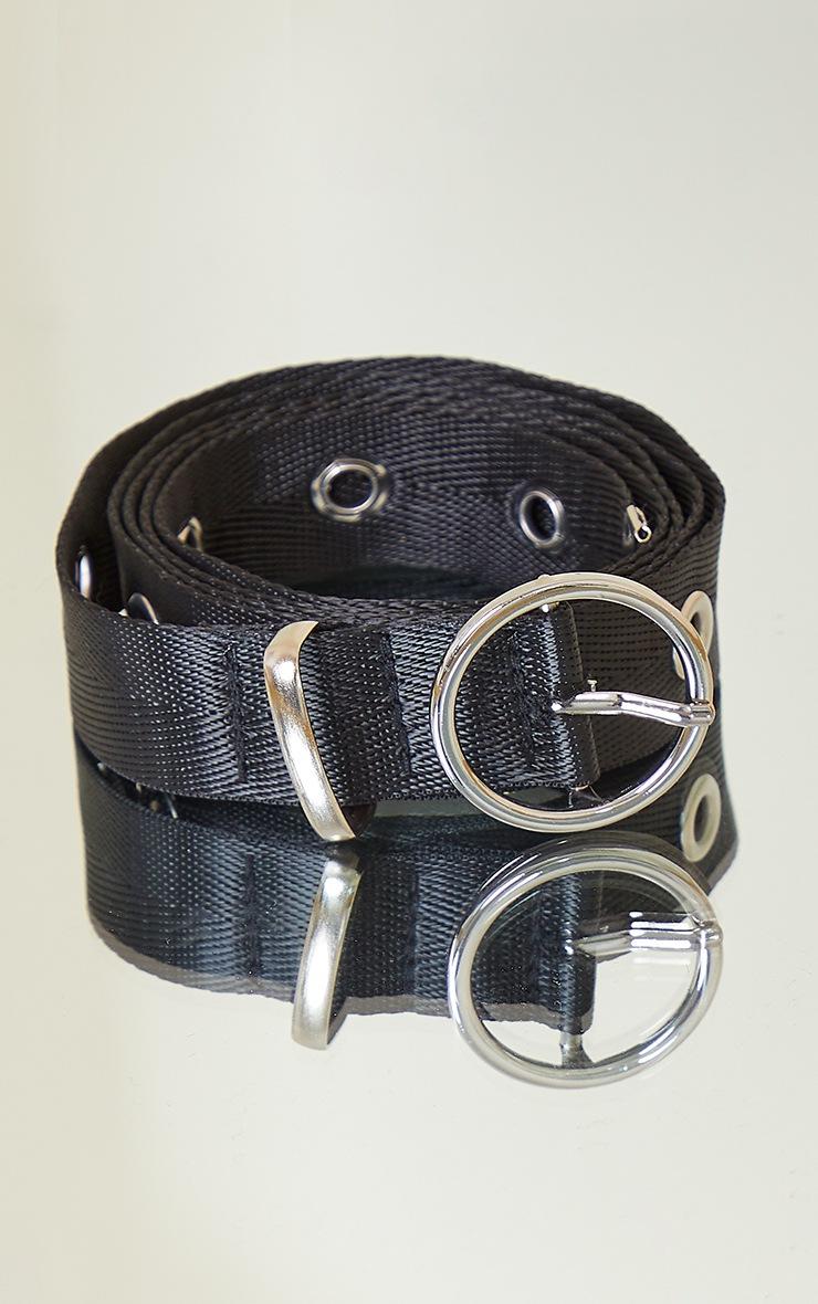 Black Skinny Eyelet Belt 2