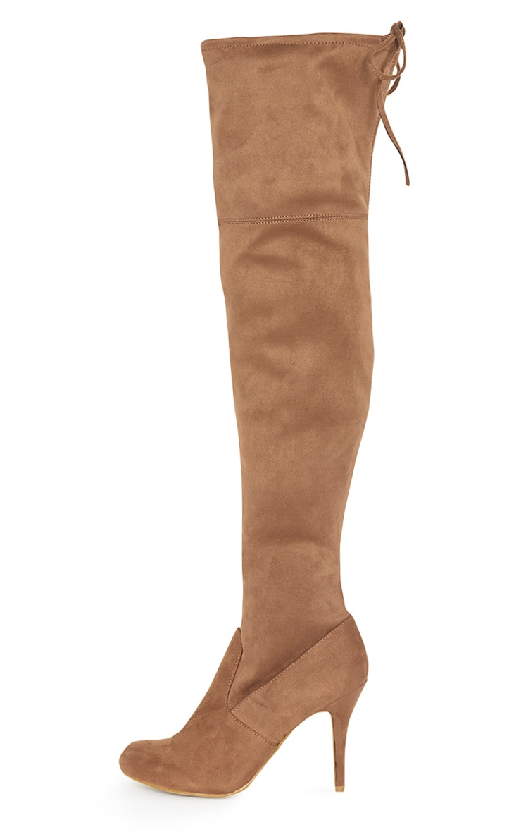 Ayana Tan Suedette Over the Knee Heeled Boot 1