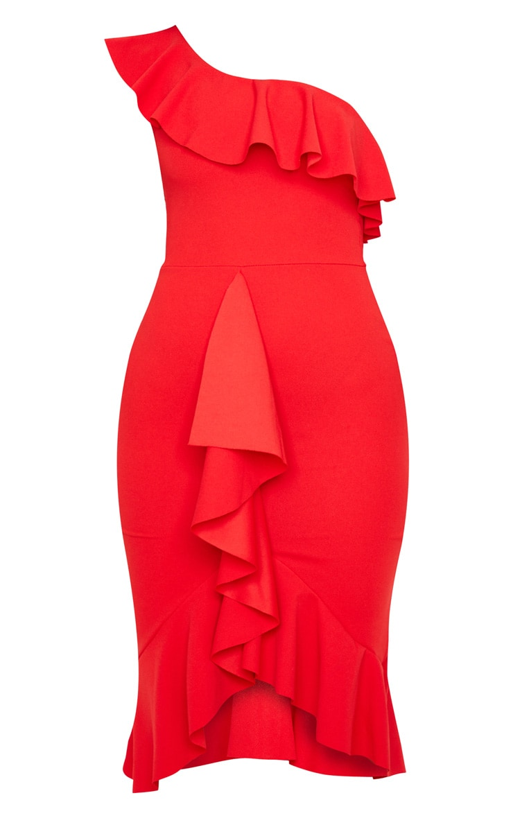 Red One Shoulder Ruffle Detail Midi Dress 3