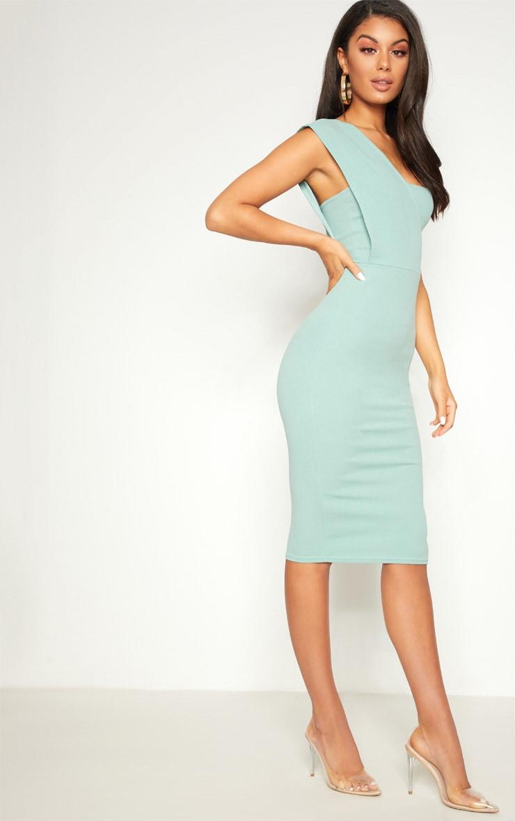 Mint One Shoulder Draped Midi Dress 2