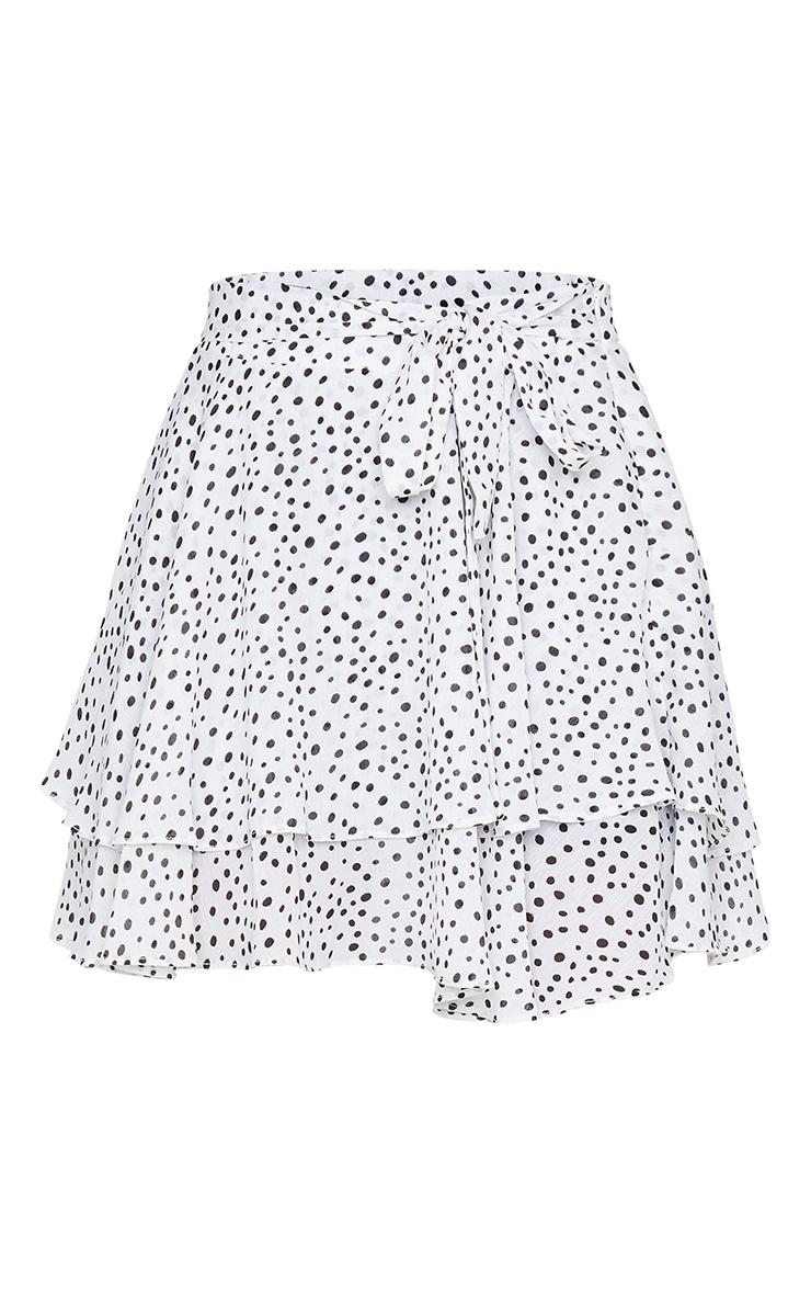 White Polka Dot Tie Waist Frill Hem Skater Skirt 6
