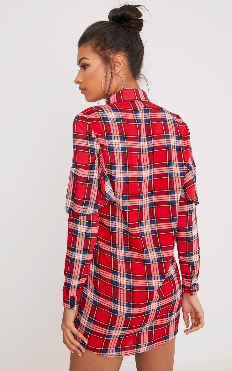 Ritah Red Checked Shirt Dress 2