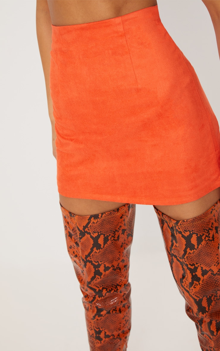 Orange Faux Suede Mini Skirt  6