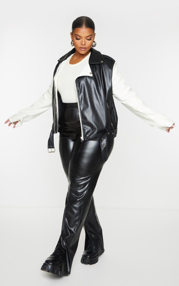 Plus Black Faux Leather Contrast Belted Biker Jacket 1