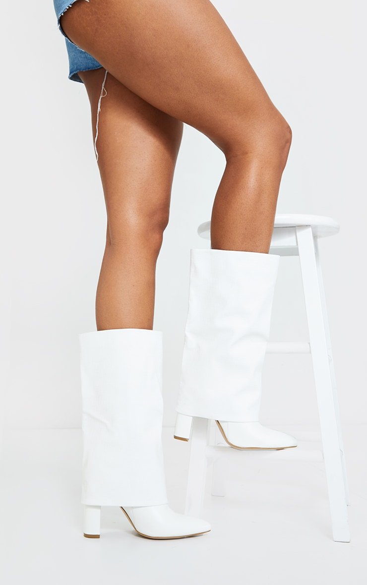 White Fold Over High Point Block Heel Calf Boots 1