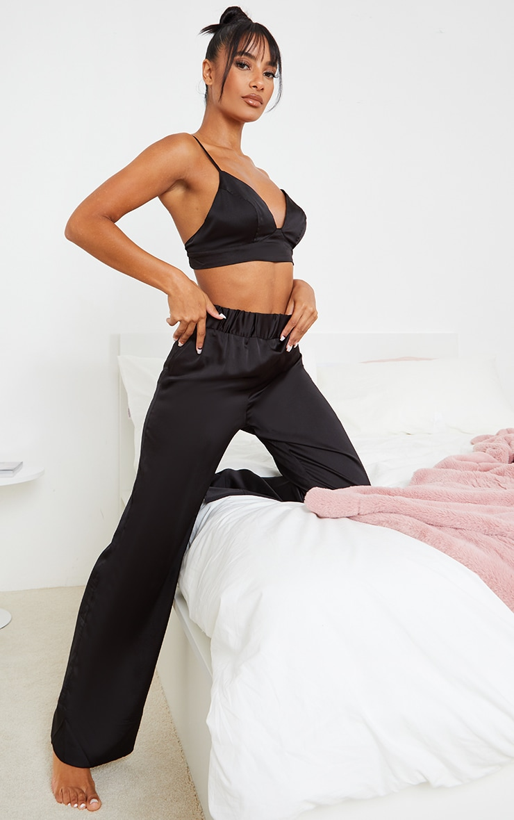 Black Satin Triangle Bralet And Trouser PJ Set 1