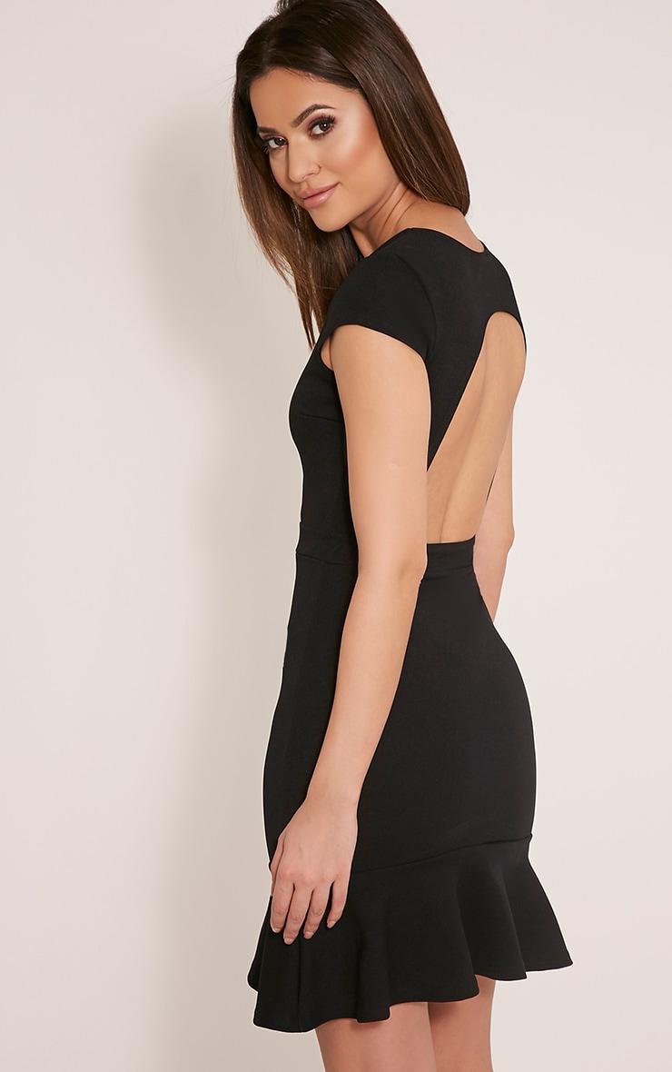 Rita Black Twist Front Dropped Peplum Bodycon Dress 4
