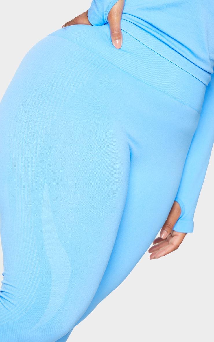 Plus Bright Blue Basic Detail Seamless High Waist Gym Leggings 4