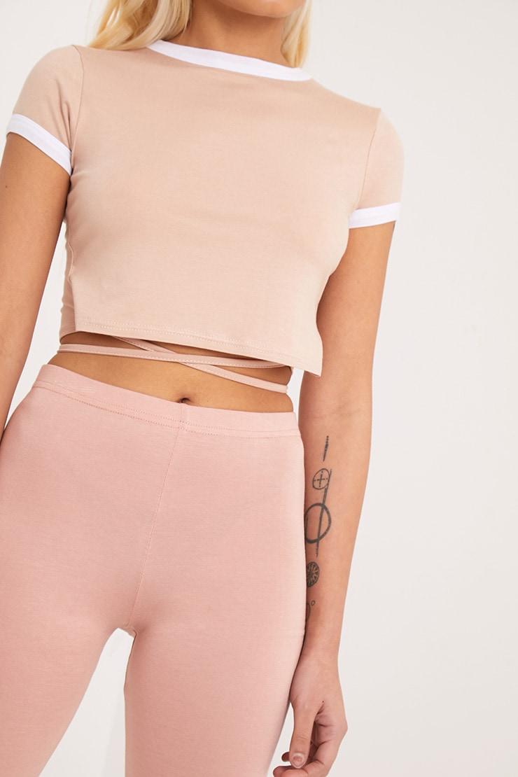 Phillipa Nude Jersey Harness Contrast Crop T Shirt 5