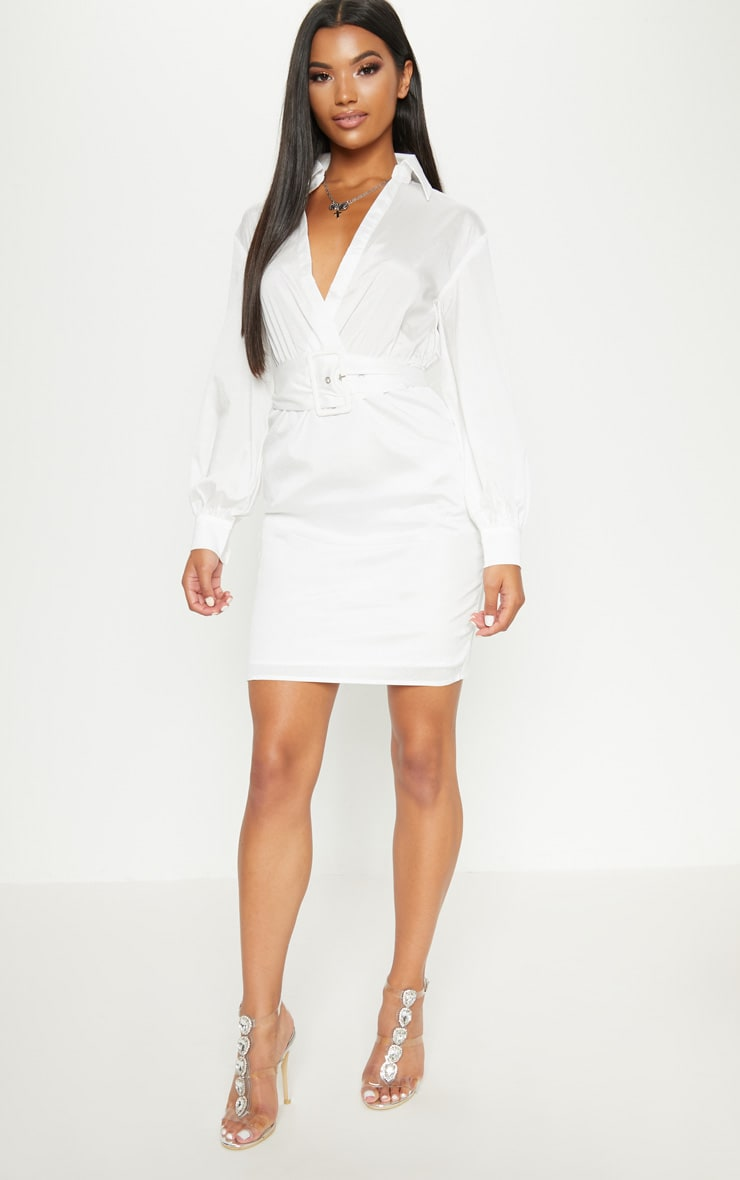 White Plunge Belted Shirt Dress 4