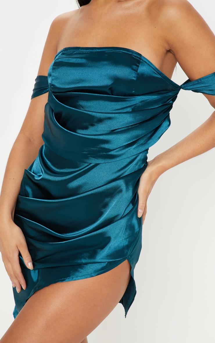Teal Satin Bardot Drape Bodycon Dress 5