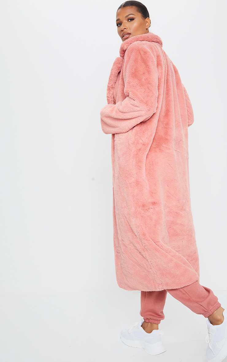 Pink Maxi Faux Fur Coat 2