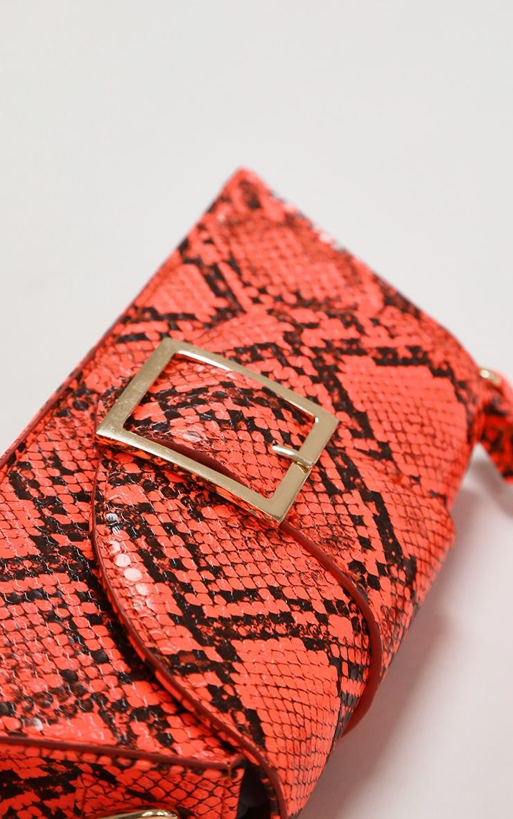 Orange Snake Baguette Bag 3