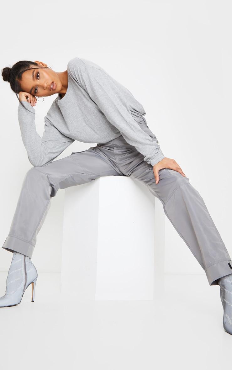 Grey Oversized Boyfriend Long Sleeve T Shirt 3