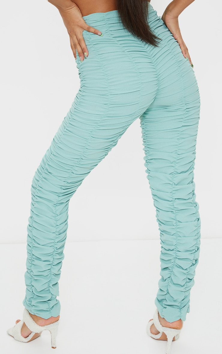 Washed Green Ruched Leg Woven Skinny Pants 3
