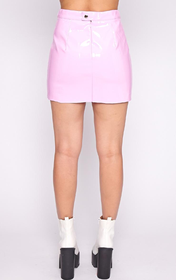 Daphne Pink PVC Mini Skirt  4