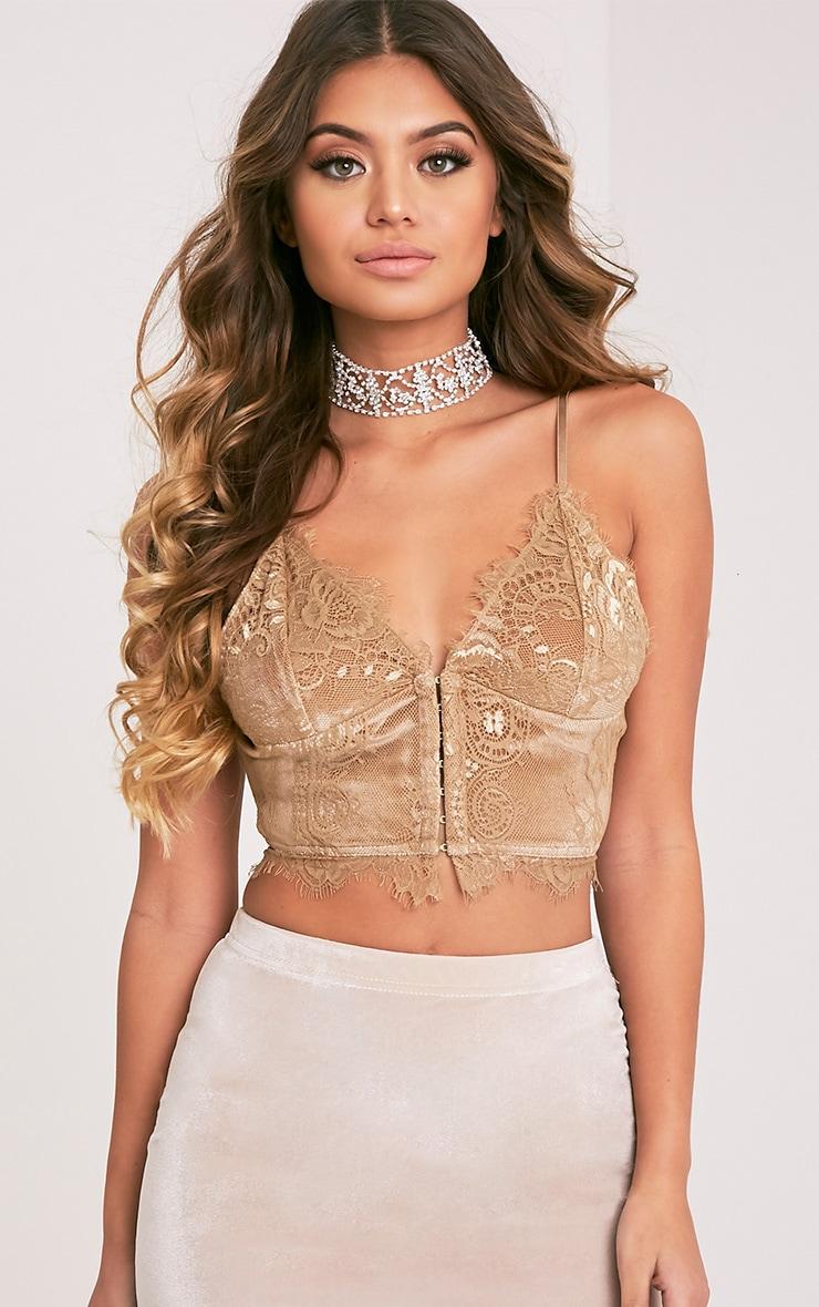 Hannah brassière corset en dentelle dorée 1