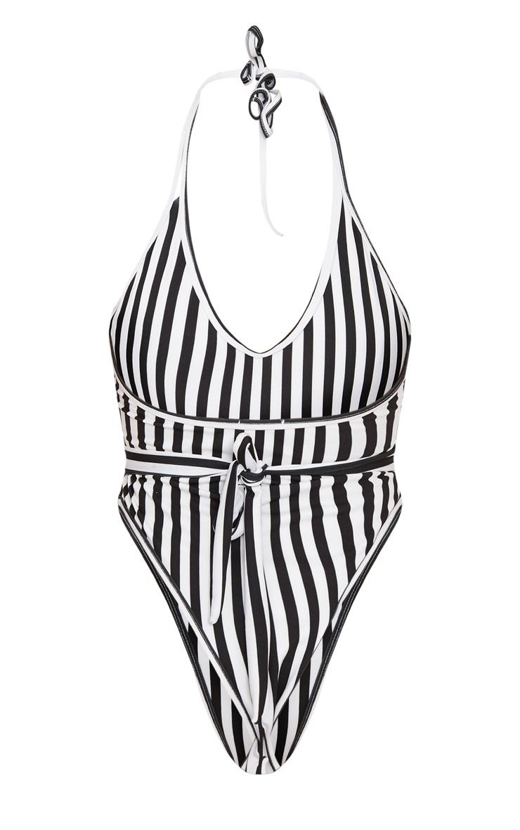 Black Mono Stripe Lion Belted Swimsuit 8