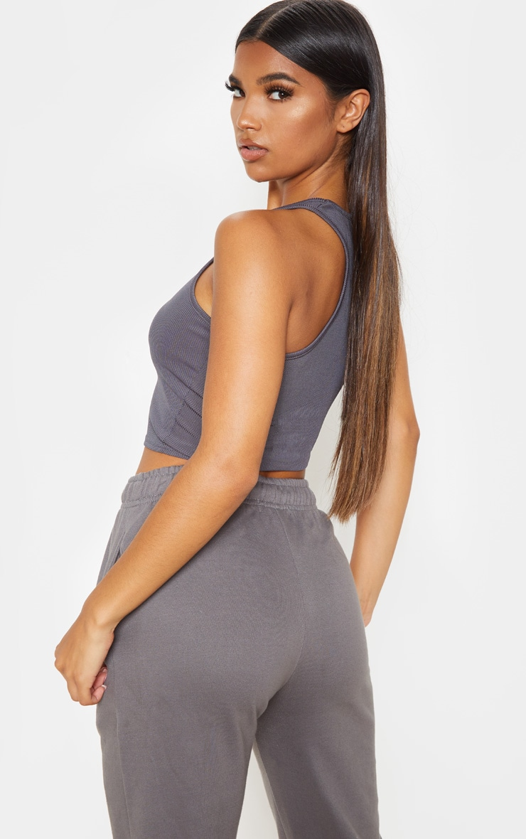Charcoal Grey Rib Racer Back Crop Top 2