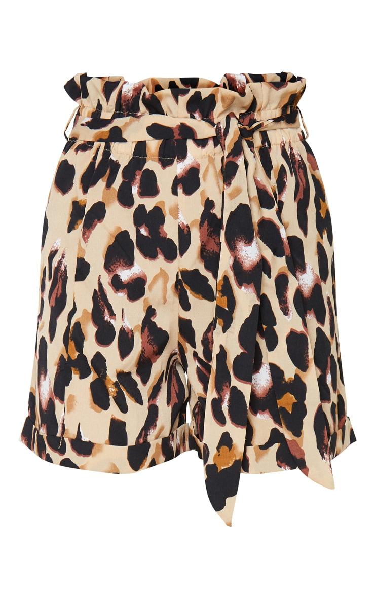 Leopard Print Printed Satin Shorts 5