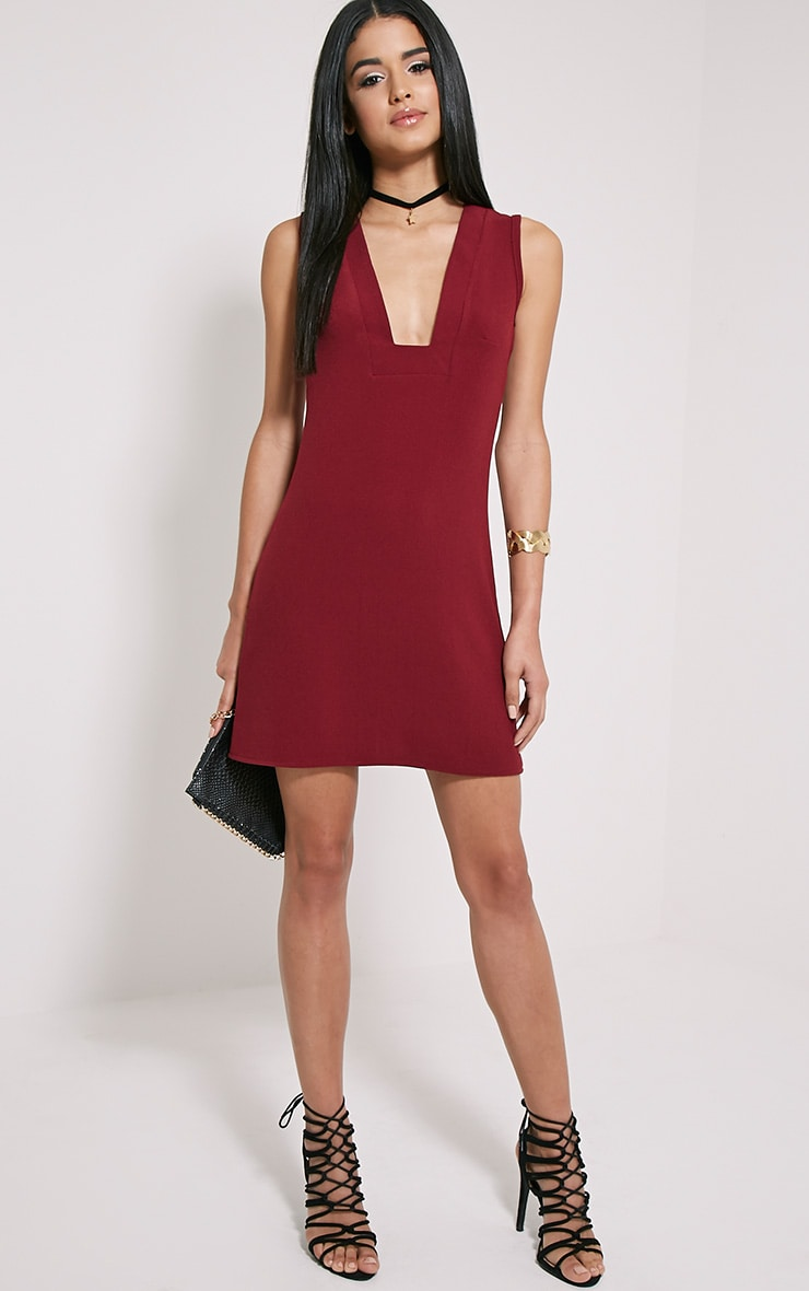 Jadako Burgundy Sleeveless Loose Fit Square Neck Dress 3