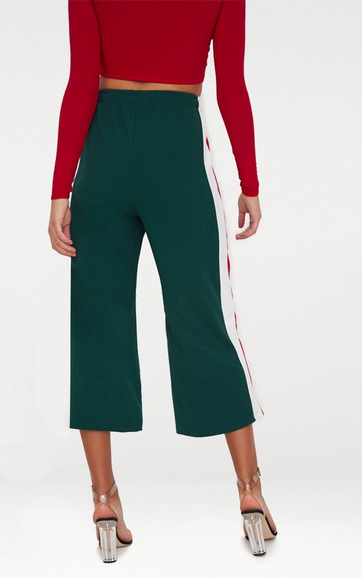 Emerald Green Side Stripe Drawstring Culottes 4