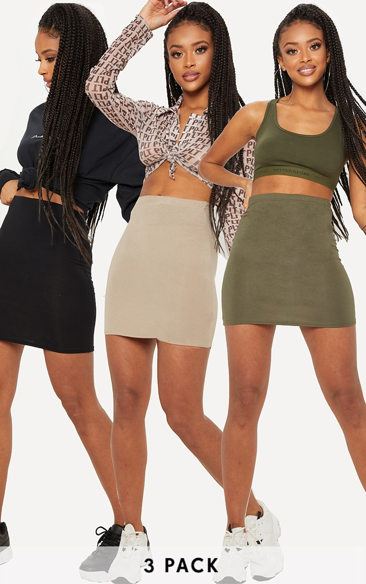 Black Taupe and Khaki Basic Jersey Mini Skirt 3 Pack