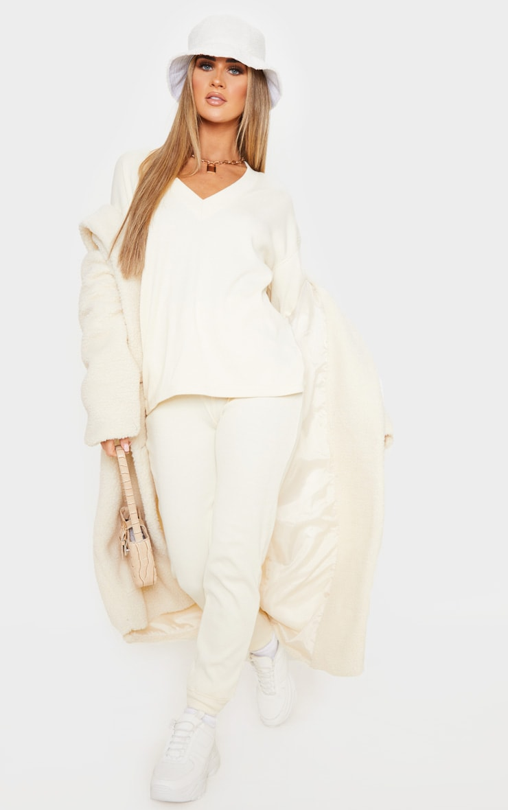 Cream Thick Rib High Waisted Jogger 1