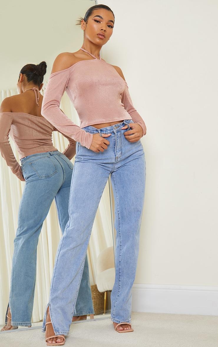 Nude Slinky Halterneck Long Sleeve Long Top 3