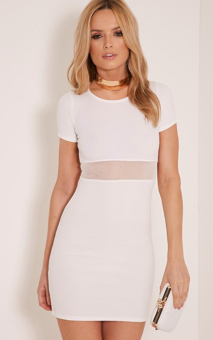 Kaylee White Short Sleeve Mesh Panel Bodycon Dress 1