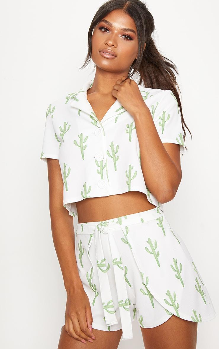 White Cactus Print Tie Waist Short 5