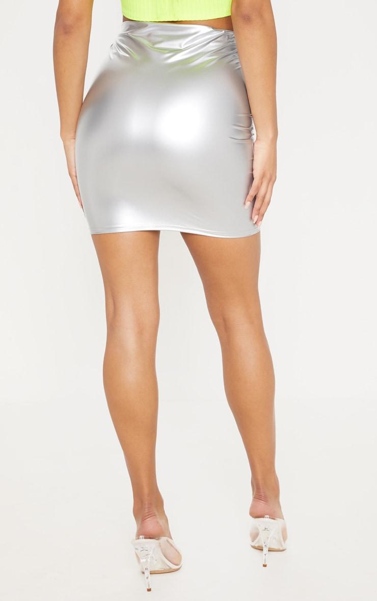 Silver Vinyl Mini Skirt 4