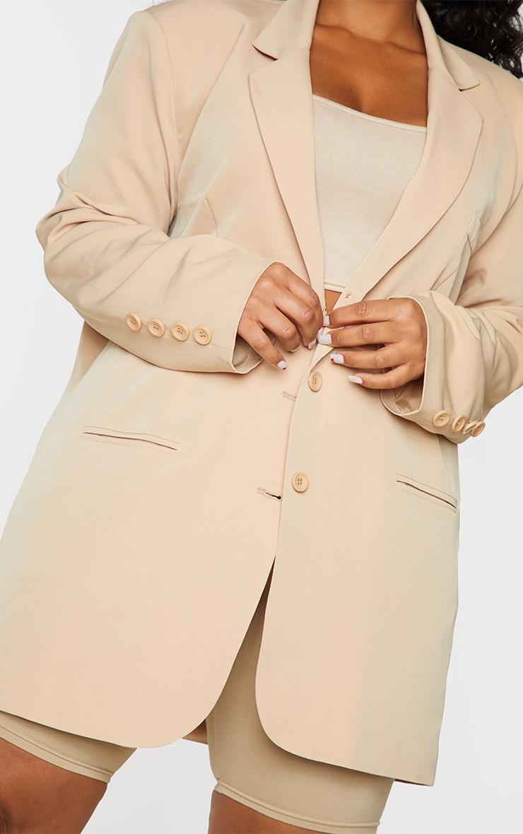 Plus Camel Woven Triple Button Shoulder Padded Oversized Blazer 4
