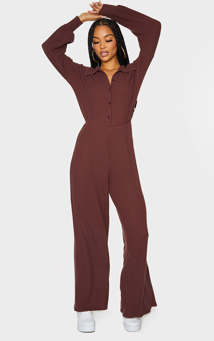 Chocolate Brushed Rib Shirt Style Jumpsuit 3