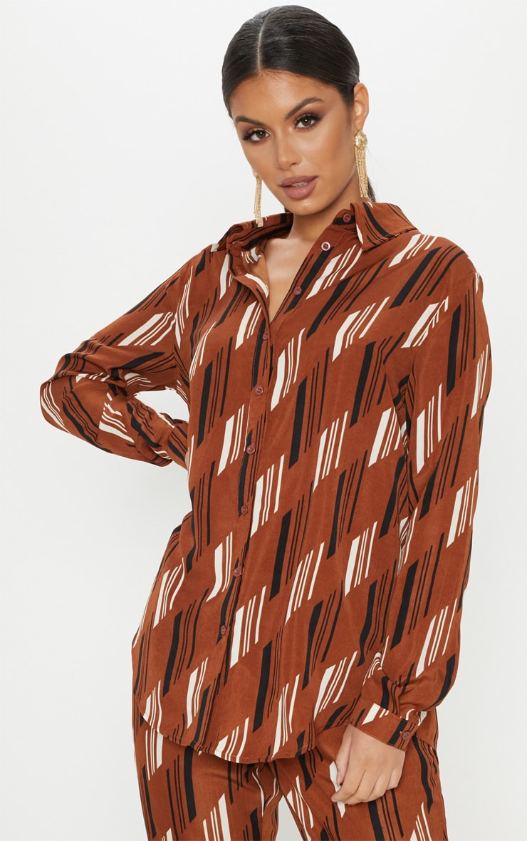 Brown Printed Oversized Shirt 1