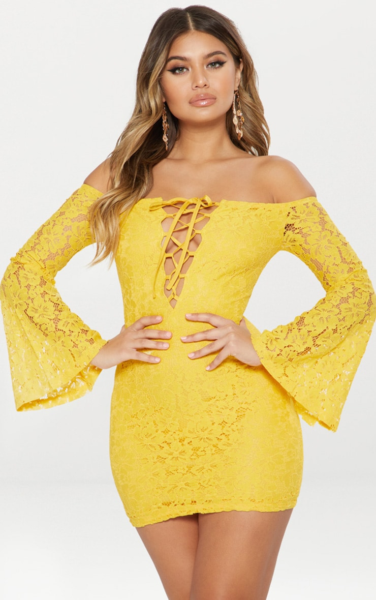 Yellow Lace Bardot Flare Sleeve Bodycon Dress 1