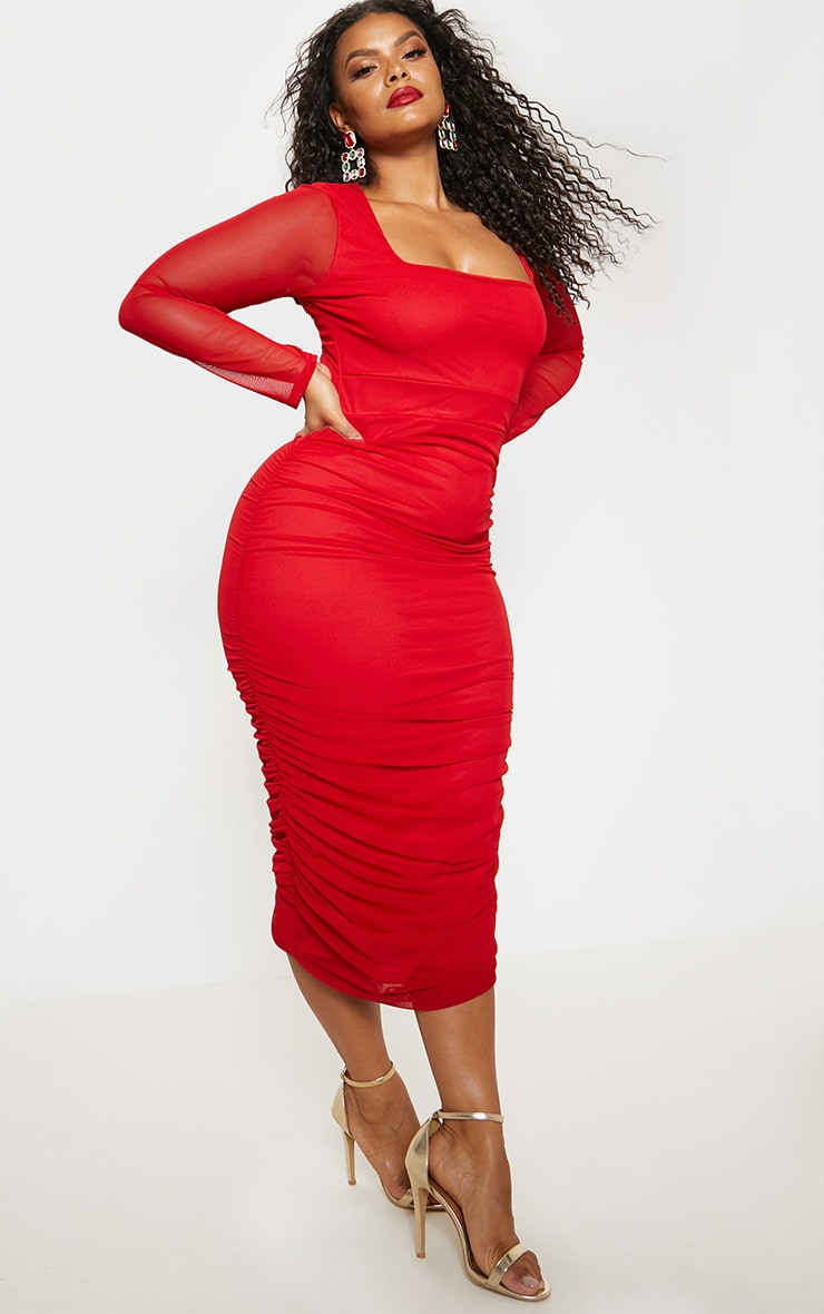 Plus Red Mesh Ruched Midi Dress 2