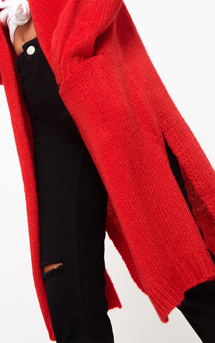 Red Super Chunky Long Line Cardigan 5