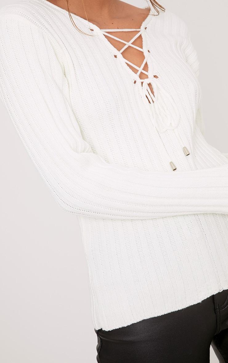 Dalya Cream Lace Up V Jumper 5