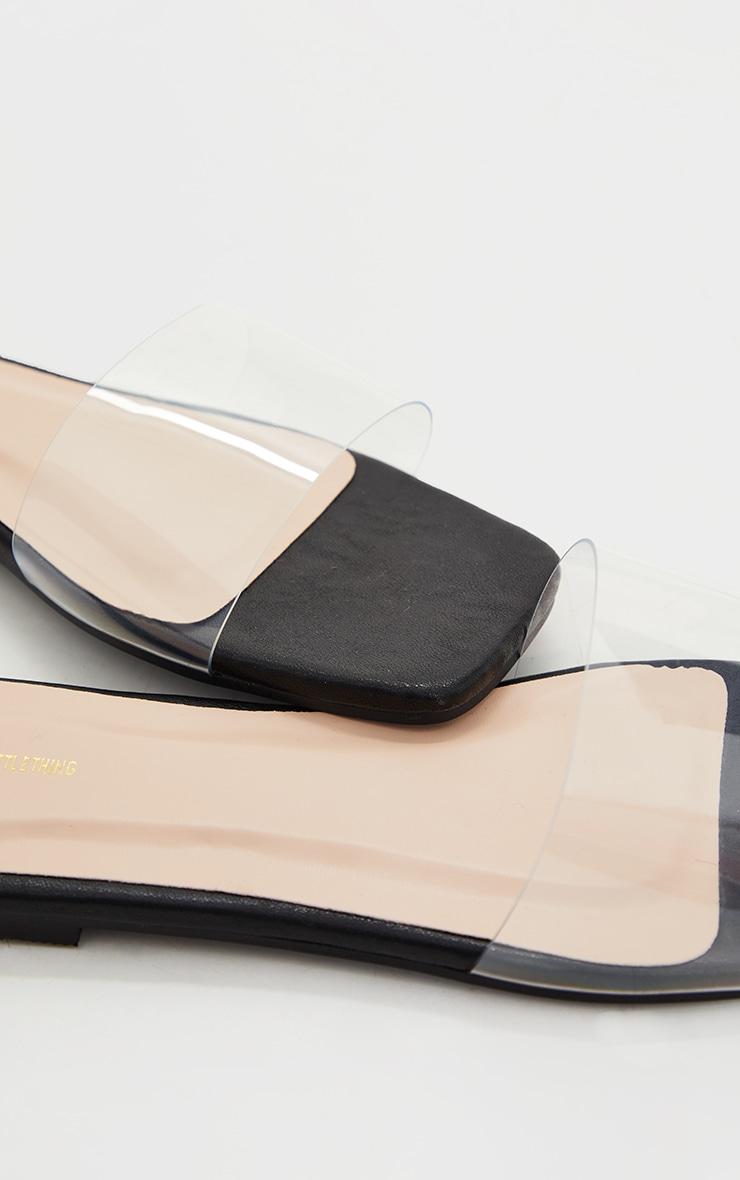 Black WIDE FIT PU Clear Strap Mule Sandals 4