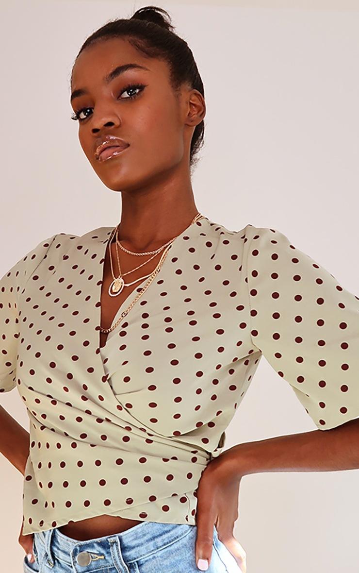 Sage Green Polka Dot Print Short Sleeve Tie Front Blouse 4