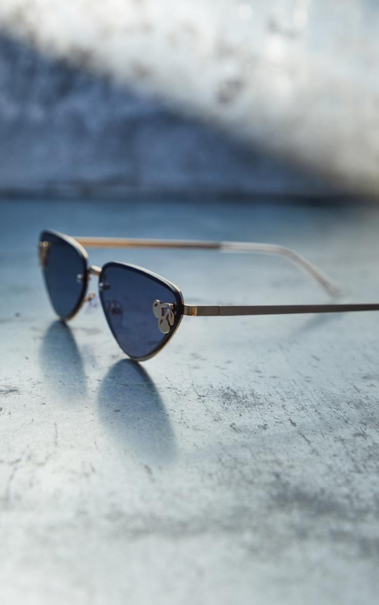 Black Cherry Motif Detail Triangular Sunglasses 3
