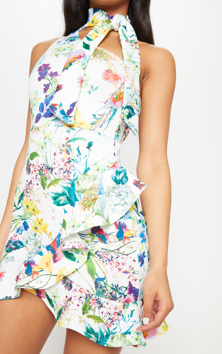 White Floral Tie Neck One Shoulder Frill Hem Bodycon Dress 5