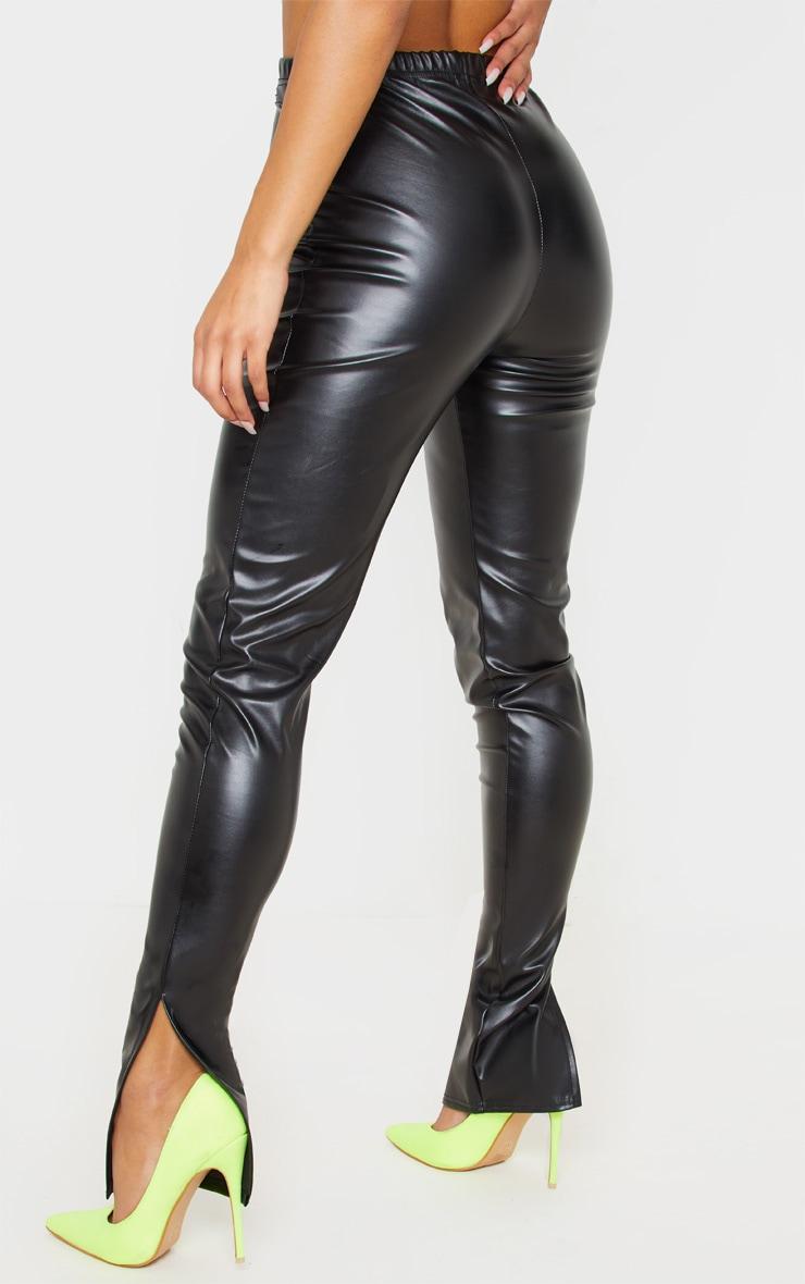 Black Faux Leather Split Hem Leggings 4