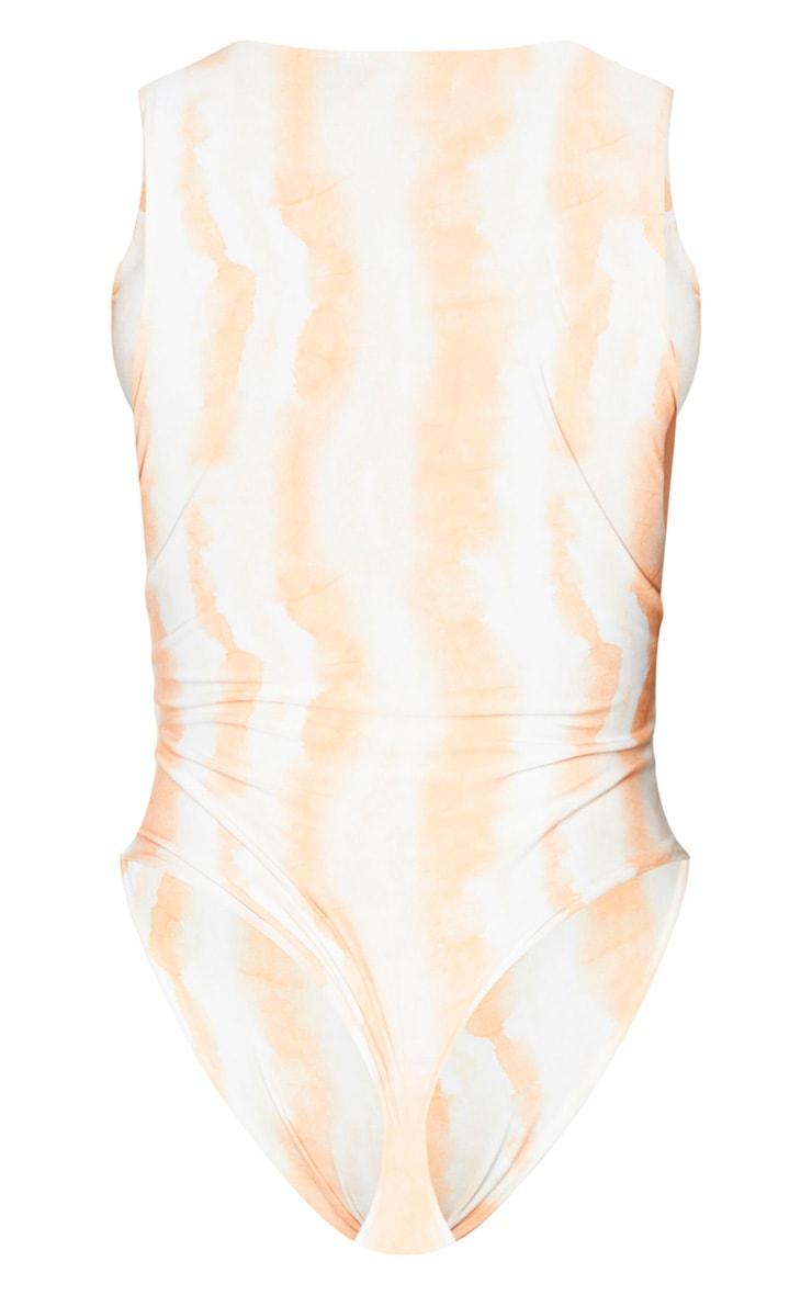 Shape Orange Tie Dye Slinky Sleeveless Bodysuit 6