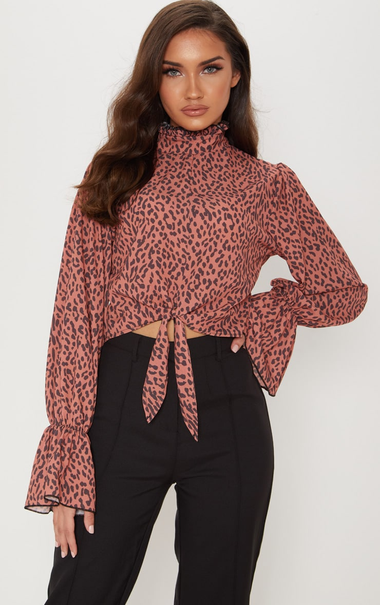 Tan Leopard Printed Fluted Sleeve Tie Blouse 1